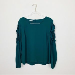 Maurices Emerald Green Long Sleeve Blouse Size XL